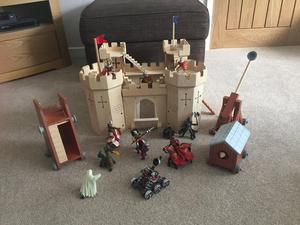 Wooden castle and characters