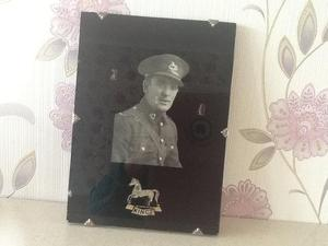 Ww2 picture of soldier from kings regiment.and blazer badge