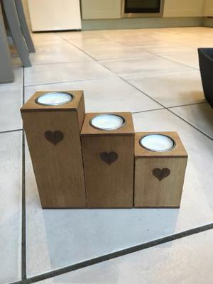 3 wooden heart candle holders