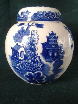 VINTAGE ROYAL CAULDON BRISTOL IRONSTONE WILLOW PATTERN LARGE GINGER JAR TWININGS