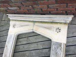 Antique Gothic Limestone Fireplace