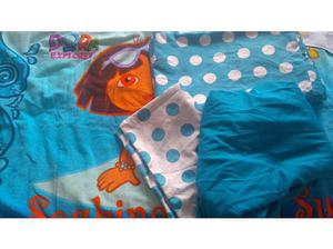 Childrens single bed set and Dora the Explorer towel in