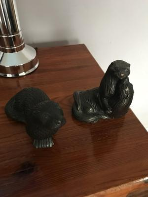 Cold cast bronze otters