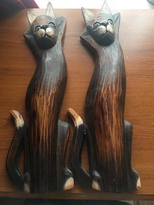 Handmade wooden cats