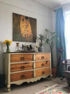 Retro Mexican solid pine chest of drawers