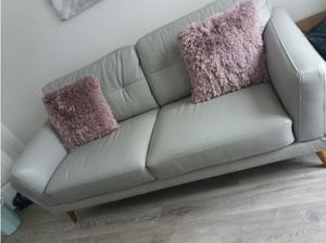 2 leather silver grey settees in Middlesbrough
