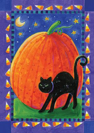 Halloween Pumpkin & Cat Colorful Toland Small Garden Flag