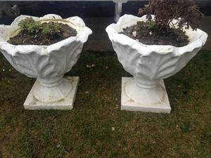 Pair of heavy stone tulip planters flower pots
