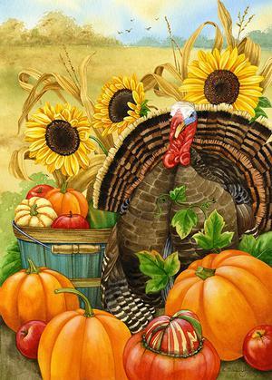 Thanksgiving Turkey/Sunflow er & Pumpkin Toland Garden Flag