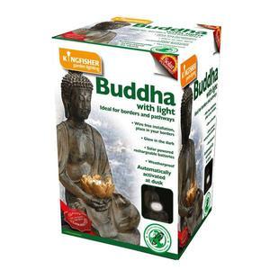 Buddha with Solar Powered Garden Patio Light - New - FREE
