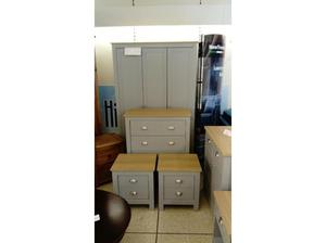 Wardrobe and chest of drawers set with bedside cabinets in