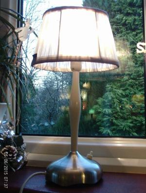 silver / white lamp & shade 39 x 21 cm