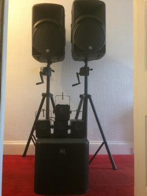 2 x Mackie SRM 450 v2, 1 x EV ZXA1 Sub, 4 x Soundlab GO17JC Lights, 2 x Wind Up Speaker Stands
