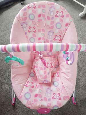 Chad Valley Pink Baby Bouncer Chair with Vibrating Function
