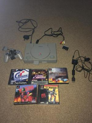 Original Sony PlayStation 1 console + controller & 5 games