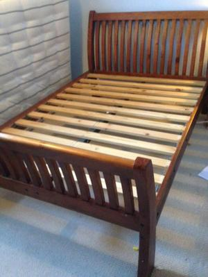 Double solid wooden sleigh bed