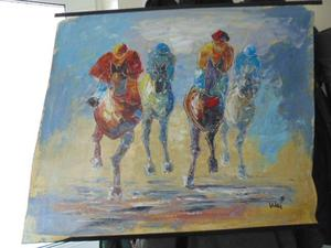 Lovely racing horses in oil on canvas wall hanging P+P £5