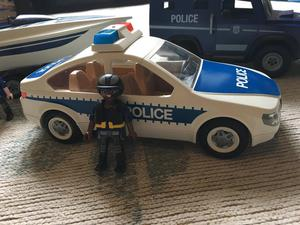Playmobil Police car, Land Rover, boat and trailer
