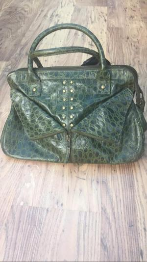 Textured olive green purse and matching bag