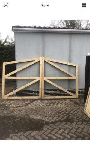 Brand new wooden driveway gates