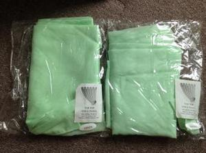 New 2 x mint green tab top voile panels and tie backs
