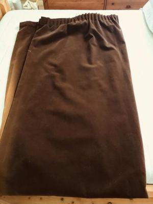 Pair of Beautiful Brown Large Velvety Curtains