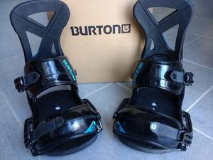 Burton Custom EST snowboard bindings, L, black/blue, excellent condition like new