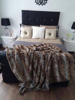 Faux Leather double Bed in black and white including sprung mattress