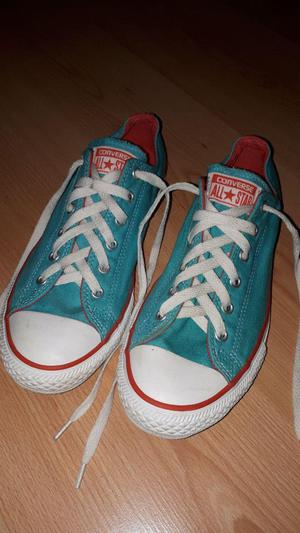 Womens Converse Trainers Size 5. Teal and White. Used but in good condition.