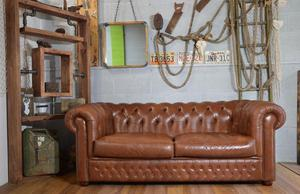 Chesterfield Vintage Leather 3 Seater Sofa Brown