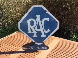 Enamel sign,double sided.RAC Garage sign.s