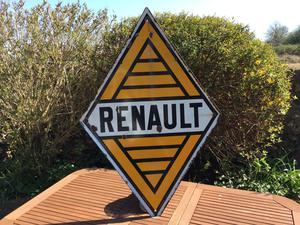 Enamel sign.original Renault dealership double sided sign