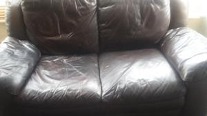 Large Brown 2 Seater Leather Sofa