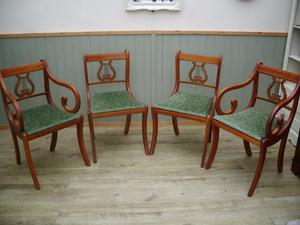 Stunning Set of 4 Lyre Back Chairs
