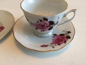 Vintage Pink Roses Teaset, Cup Saucer & Side Plate