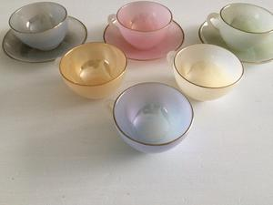 Vintage Set of s Arcopal Espresso Cups and Saucers
