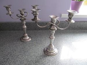 2 x vintage, ornate, silver plated candelabras can alter to make individual candlesticks (see photo)