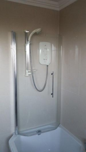 Adamsez Shower Bath , shower screen, bath panel, taps and fittings, Mira Sport electric shower.