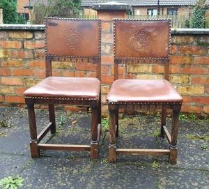 Pair of 2 Gothic chairs embossed tudor rose leather back oak Victorian? vintage