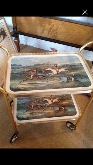 Tea trolley with hunter scene