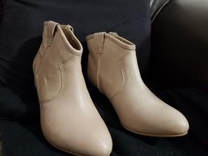 Brand New New Look Ladies Cream Real Leather Western Boots Size 6 Were £40 When Bought