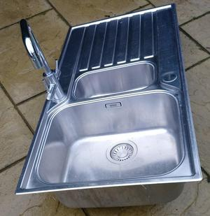 Franke 1 ½ bowl stainless steel kitchen inset sink with