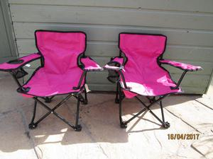 Pink Children's Folding Camping Chairs (Pair)