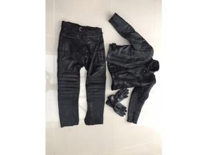 Black motor bike leathers two piece + Gloves in Southampton