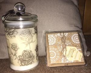 Large Floral Jar Candle & Pack of 4 x Floral Coasters NEW