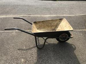 Metal wheelbarrow with tyre wheel