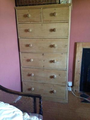 very large victorian pine chest of drawers