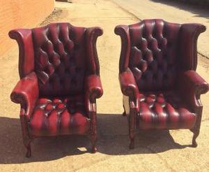 2 x Queen Anne Oxblood Chesterfield Armchairs