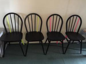 4 vintage ercol wooden chairs