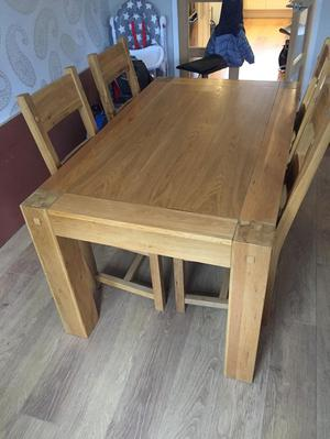 Real Oak Dining Table and 4 Chairs